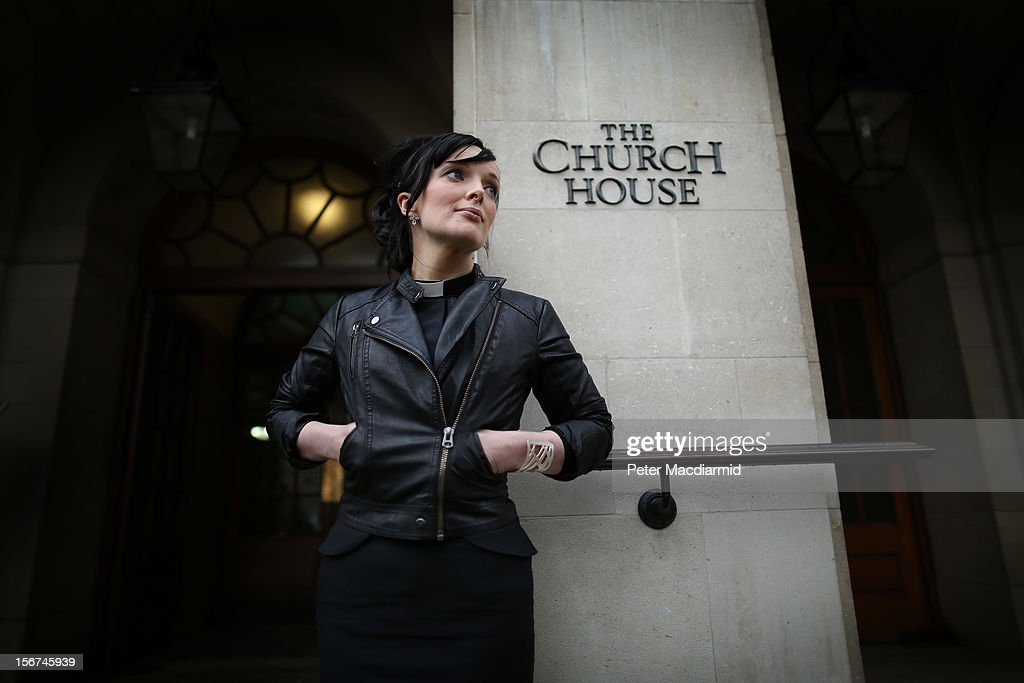 Reverend Sally Hitchiner stands outside Church House during a lunch break on November 20, 2012 in London, England. The Church of England's governing body, known as the General Synod, will later today vote on whether to allow women to become bishops.