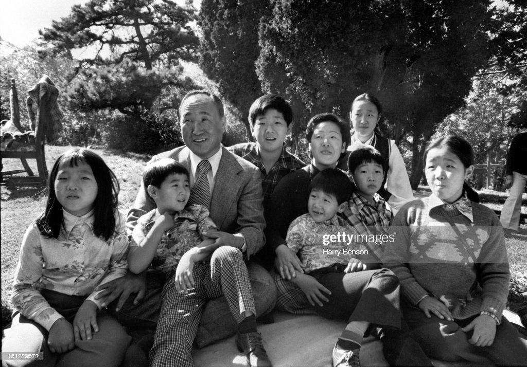 Reverend <a gi-track='captionPersonalityLinkClicked' href=/galleries/search?phrase=Sun+Myung+Moon&family=editorial&specificpeople=773635 ng-click='$event.stopPropagation()'>Sun Myung Moon</a> and his wife Hak-Ja Han are photographed with seven of their eight children for People Magazine in 1975 in Tarrytown, New York.