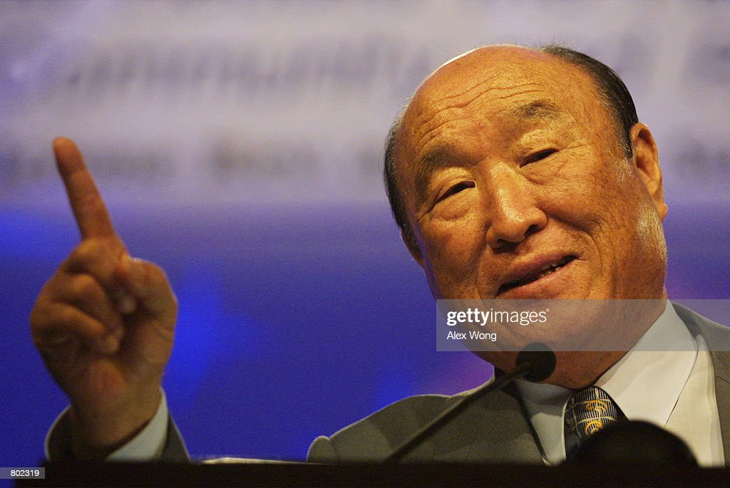 Reverend Sun Myung Moon, Founder of the Family Federation for World Peace and Unification, speaks during a meeting with 2,500 clergy April 16, 2001 in Washington, DC. Rev. Moon is on a national unity tour.