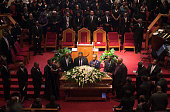 Reverends Al Sharpton and Jesse Jackson stand behind the casket holding Emanuel AME Church shooting victim Ethel Lance during her funeral at the...