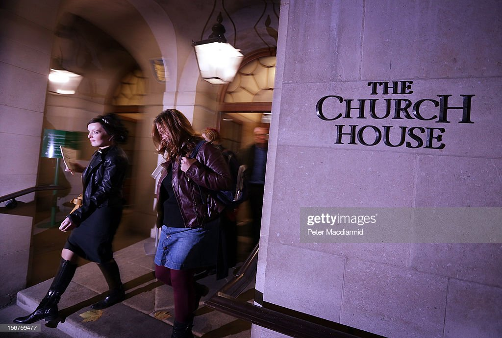 Reverends Jody Stowell (L) and Sally Hitchiner leave Church House on November 20, 2012 in London, England. The Church of England's governing body, known as the General Synod, will later today vote on whether to allow women to become bishops.