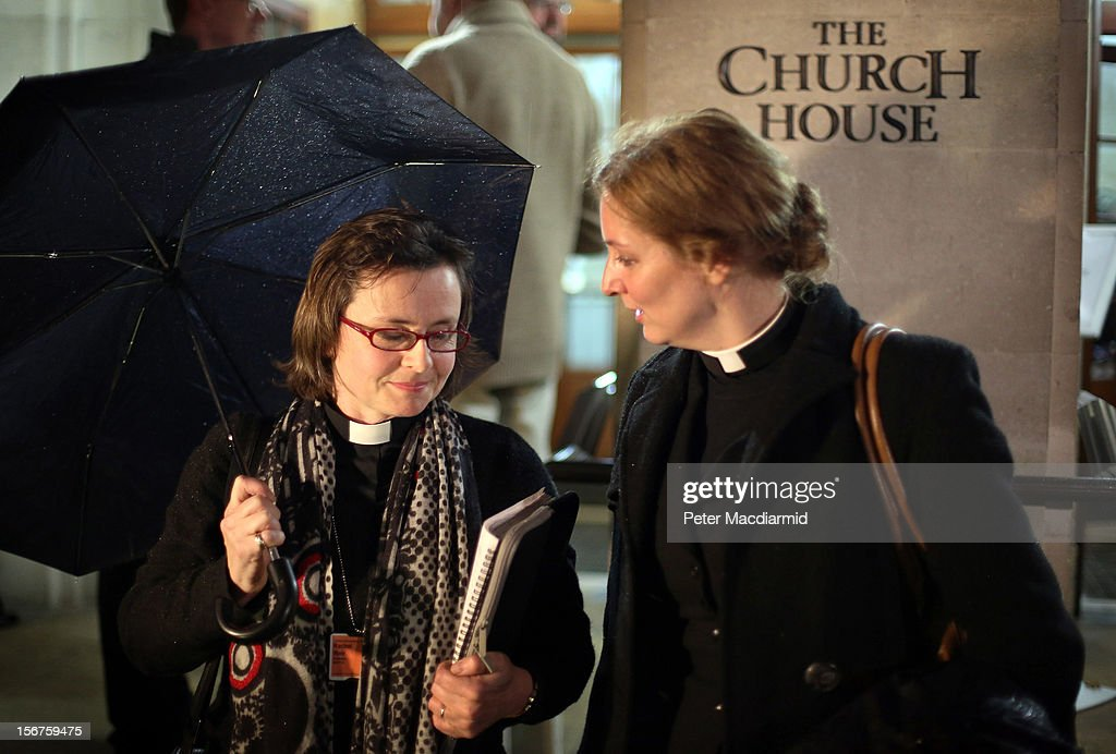 Reverends Rachel Weir (L) and Marie-Elsa Bragg talk outside Church House on November 20, 2012 in London, England. The Church of England's governing body, known as the General Synod, will later today vote on whether to allow women to become bishops.
