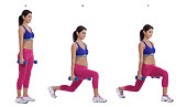 Step by step instructions: Hold a pair of dumbbells at arm's length next to your sides, your palms facing each other. Stand tall with your feet hip-width apart, and brace your core. (A) Step backward