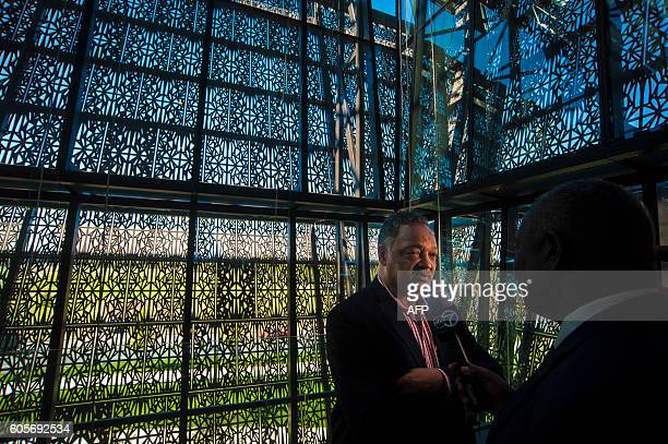 RevJesse Jackson speaks with media during a press preview at the Smithsonian's National Museum of African American History and Culture in Washington...