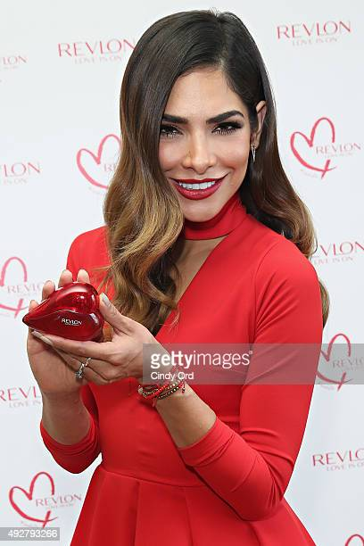 Revlon Global Brand Ambassador Alejandra Espinoza introduces Revlon's new LOVE IS ON Eau De Toilette fragrance on October 14 2015 in New York City
