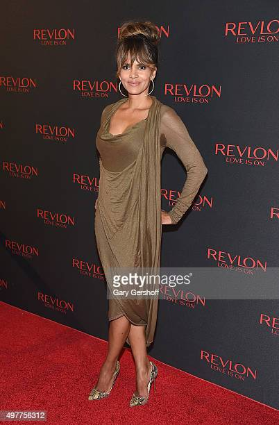 Revlon Global Brand Ambassador Halle Berry attends the Revlon Love Is On Million Dollar Challenge celebration at The Rainbow Room on November 18 2015...