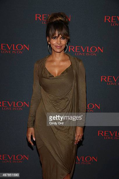 Revlon Global Brand Ambassador Halle Berry celebrates the success of the Revlon LOVE IS ON Million Dollar Challenge at the Rainbow Room on November...