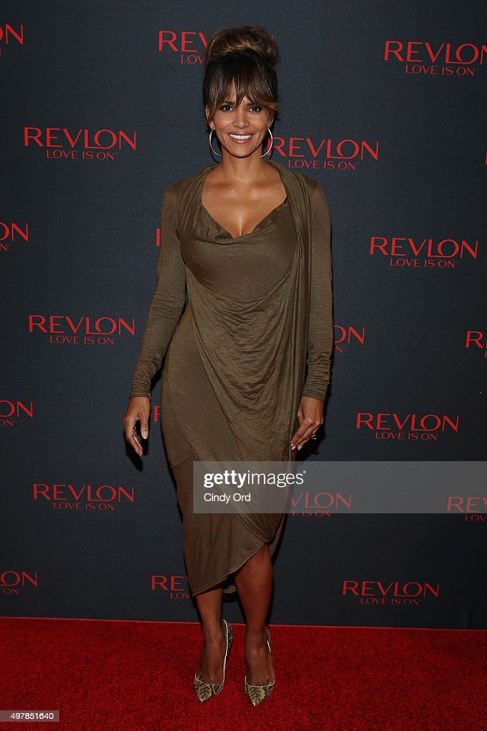 Revlon Global Brand Ambassador <a gi-track='captionPersonalityLinkClicked' href=/galleries/search?phrase=Halle+Berry&family=editorial&specificpeople=201726 ng-click='$event.stopPropagation()'>Halle Berry</a> celebrates the success of the Revlon LOVE IS ON Million Dollar Challenge at the Rainbow Room on November 18, 2015 in New York City.