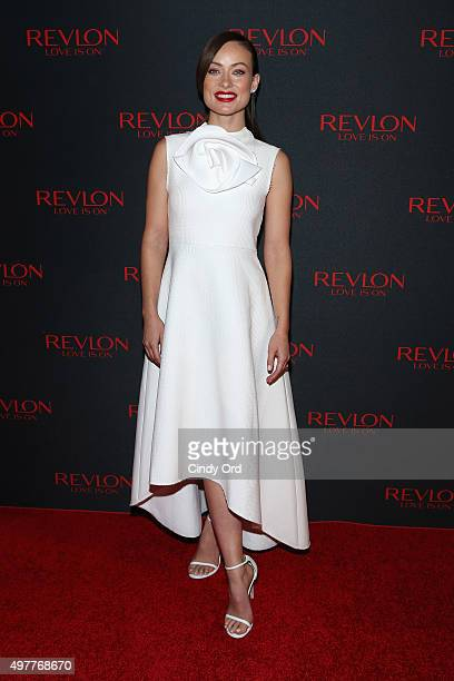 Revlon Global Brand Ambassador Olivia Wilde celebrates the success of the Revlon LOVE IS ON Million Dollar Challenge at the Rainbow Room on November...