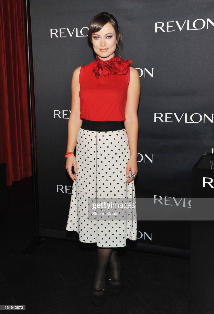 Revlon's newest Global Brand Ambassador actress <a gi-track='captionPersonalityLinkClicked' href=/galleries/search?phrase=Olivia+Wilde&family=editorial&specificpeople=235399 ng-click='$event.stopPropagation()'>Olivia Wilde</a> launches four new Revlon eye products at The Lambs Club on December 5, 2011 in New York City.