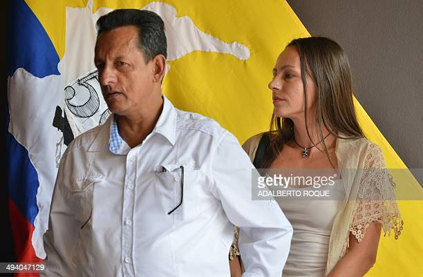 Revolutionary Armed Forces of Colombia commander Fidel Rondon and guerrilla fighter Tanja Nijmeijer attend a press conference in Havana on May 27...