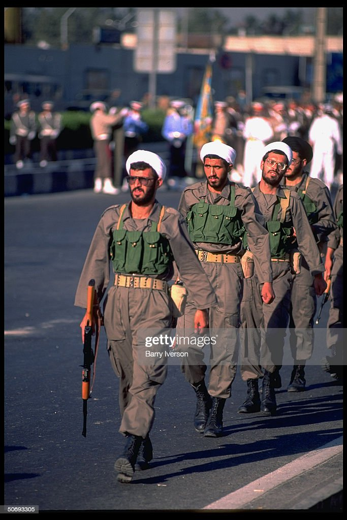 Revolutionary Guard soldiers incl Basidjis Islamic volunteers in their midst marching in military parade kicking off sacred defense week ceremonies...