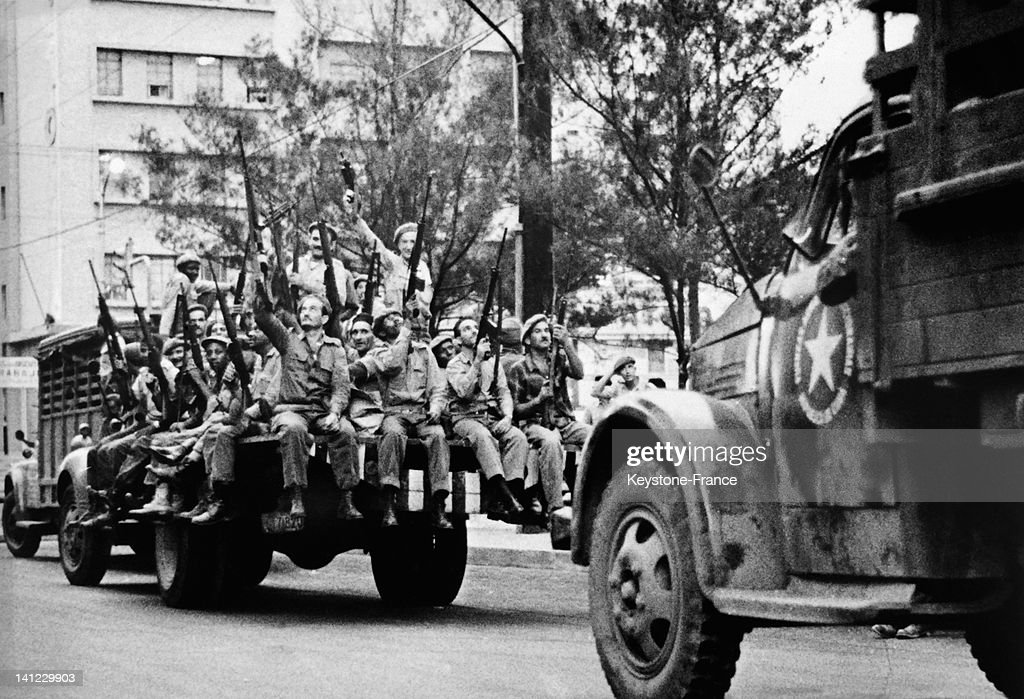 Revolutionary militias acclaimed by the crowd after the announcement of Cuba blockade by US President John F Kennedy and general mobilization by Fidel Castro on October 29, 1962 in Havana,Cuba.
