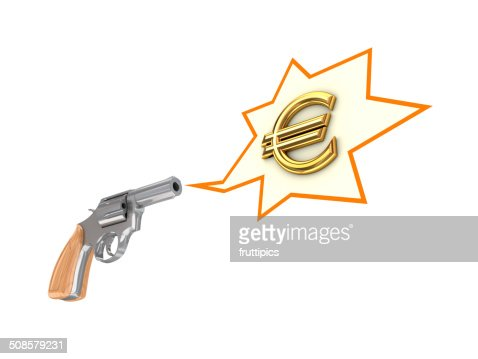 Revolver and euro sign. : Stock Photo