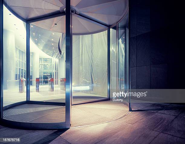 Revolving door of newly built office building.