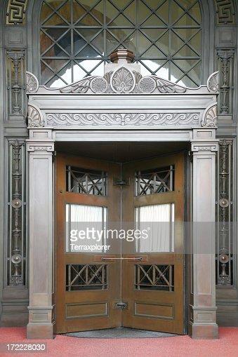 Revolving doors in a fancy building