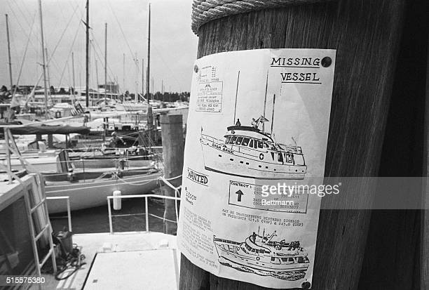 A reward poster at a marina for the yacht Saba Bank which went missing in the Bermuda Triangle on March 10 1974