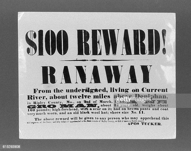A reward poster circulated in Ripley County Missouri after March 2 1860 when an African American slave ran away from his owner Apos Tucker