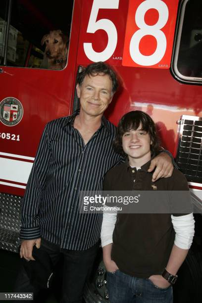Rex Bruce Greenwood and Josh Hutcherson during 20th Century Fox's 'AdoptaFireHouse' Event in Celebration of the Release of 'Firehouse Dog' at...