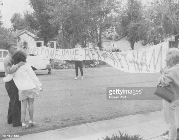 OCT 23 1967 OCT 24 1967 ***** Rex Fosberg and his wife Janice walk toward welcome banner held by Mrs Blake Mrs Harry Forsberg and Mrs Lucero Center...