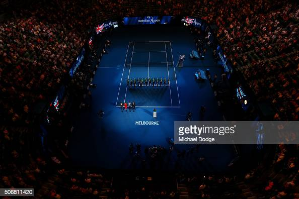 Rex Hartwig is inducted into the Australian Tennis Hall of Fame on Rod Laver Arena during day nine of the 2016 Australian Open at Melbourne Park on...