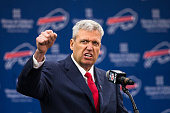 Rex Ryan speaks at a press conference announcing his arrival as head coach of the Buffalo Bills on January 14 2015 at Ralph Wilson Stadium in Orchard...