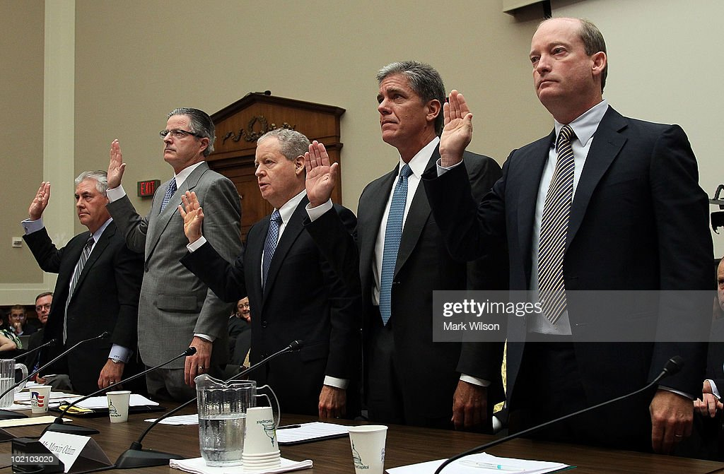Rex Tillerson, Chairman and CEO of ExxonMobil, John Watson, Chairman and CEO of Chevron, James Mulva, Chairman and CEO of ConocoPhillips, Marvin Odum, President of Shell Oil Company, and Lamar McKay, Chairman and President BP America, Inc. are sworn in for a hearing before the House Energy and Commerce Committee June 15, 2010 in Washington, DC. The group of oil executives were scheduled to testify on the topic of 'Drilling Down On America's Energy Future: Safety, Security And Clean Energy.'
