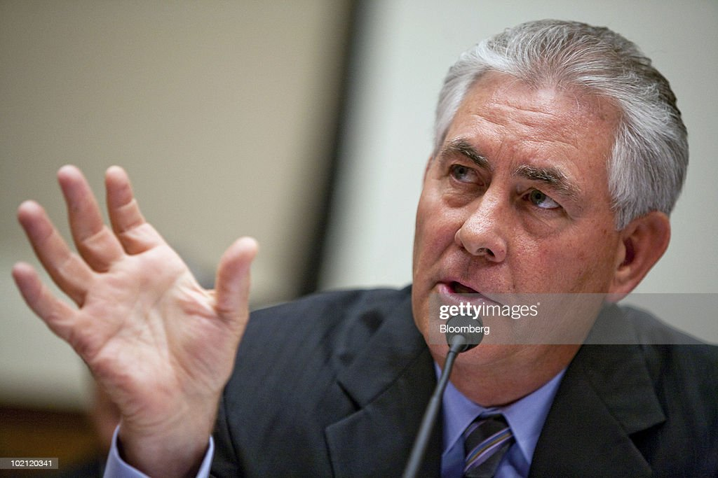 Rex Tillerson, chairman and chief executive officer of ExxonMobil Corp., testifies at a hearing of the House Energy and Commerce Committee hearing in Washington, D.C., U.S., on Tuesday, June 15, 2010. Exxon Mobil Corp., ConocoPhillips, Chevron Corp. and Royal Dutch Shell Plc are as ill-prepared as BP Plc to halt and clean up an offshore oil spill because they all use 'carbon copy' disaster plans, lawmakers said. Photographer: Brendan Hoffman/Bloomberg via Getty Images