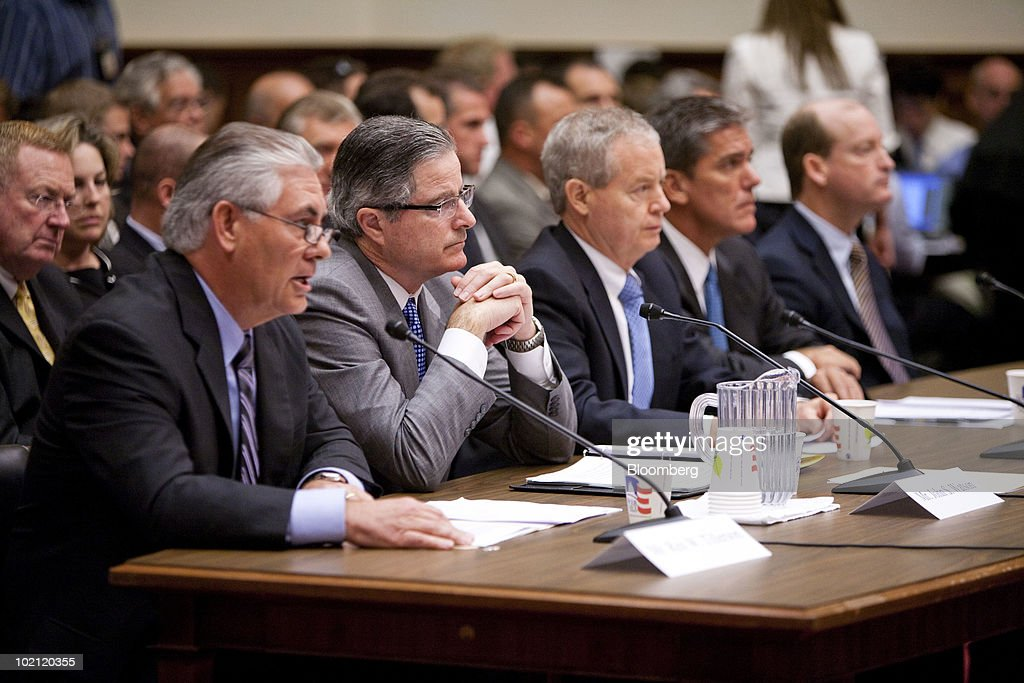 Rex Tillerson, chairman and chief executive officer of ExxonMobil Corp., from left, John Watson, chairman and chief executive officer of Chevron Corp., James Mulva, chairman and chief executive officer of ConocoPhillips, Marvin Odum, president of Shell Oil Co., and Lamar McKay, chairman and president of BP America Inc., testify at a House Energy and Commerce Committee hearing in Washington, D.C., U.S., on Tuesday, June 15, 2010. Exxon Mobil Corp., ConocoPhillips, Chevron Corp. and Royal Dutch Shell Plc are as ill-prepared as BP Plc to halt and clean up an offshore oil spill because they all use 'carbon copy' disaster plans, lawmakers said. Photographer: Brendan Hoffman/Bloomberg via Getty Images