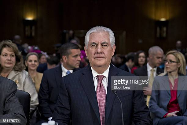 Rex Tillerson former chief executive officer of Exxon Mobil Corp and US secretary of state nominee for presidentelect Donald Trump arrives to a...