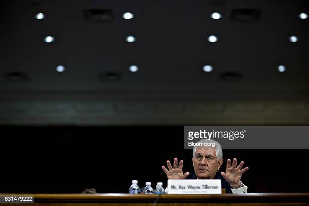 Rex Tillerson former chief executive officer of Exxon Mobil Corp and US secretary of state nominee for presidentelect Donald Trump speaks during a...