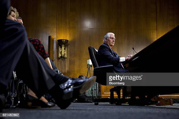 Rex Tillerson former chief executive officer of Exxon Mobil Corp and US secretary of state nominee for presidentelect Donald Trump listens during a...
