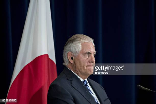 Rex Tillerson US secretary of State listens at a news conference during the Security Consultative Committee meeting at the State Department in...