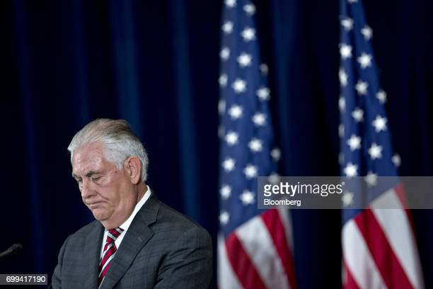 Rex Tillerson US secretary of State listens during a news conference with James Mattis US secretary of defense not pictured following the inaugural...