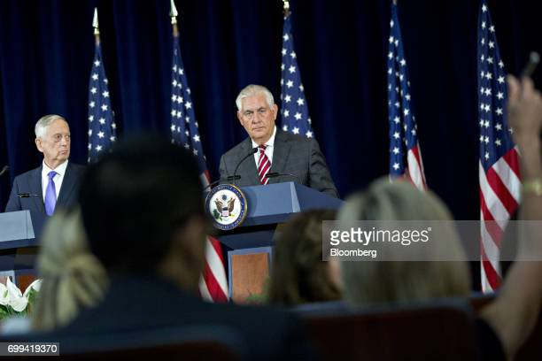 Rex Tillerson US secretary of State right and James Mattis US secretary of defense wait for a question during a news conference following the...