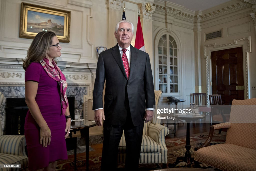 Rex Tillerson, U.S. secretary of State, right, speaks as Chrystia Freeland, Canada's minister of foreign affairs, listens while meeting at the State Department in Washington, D.C., U.S., on Wednesday, Aug. 16, 2017. Starting today the first round of North American Free Trade Agreement (NAFTA) renegotiations began with Canada and Mexico largely wanting to defend the advantages they have enjoyed under the two-decade-old Nafta deal, keep it free of tariffs and broaden it to new industries. President Donald Trump has called Nafta the worst trade pact in history and promised to fix it through negotiations or withdraw. Photographer: Andrew Harrer/Bloomberg via Getty Images