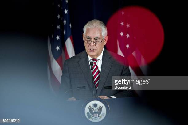 Rex Tillerson US secretary of State speaks during a news conference with James Mattis US secretary of defense not pictured following the inaugural...
