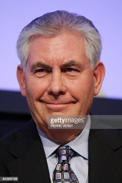 Rex W Tillerson Chairman and Chief Executive Officer of ExxonMobil Corporation listens during the fourth day of the World Economic Forum in Davos...