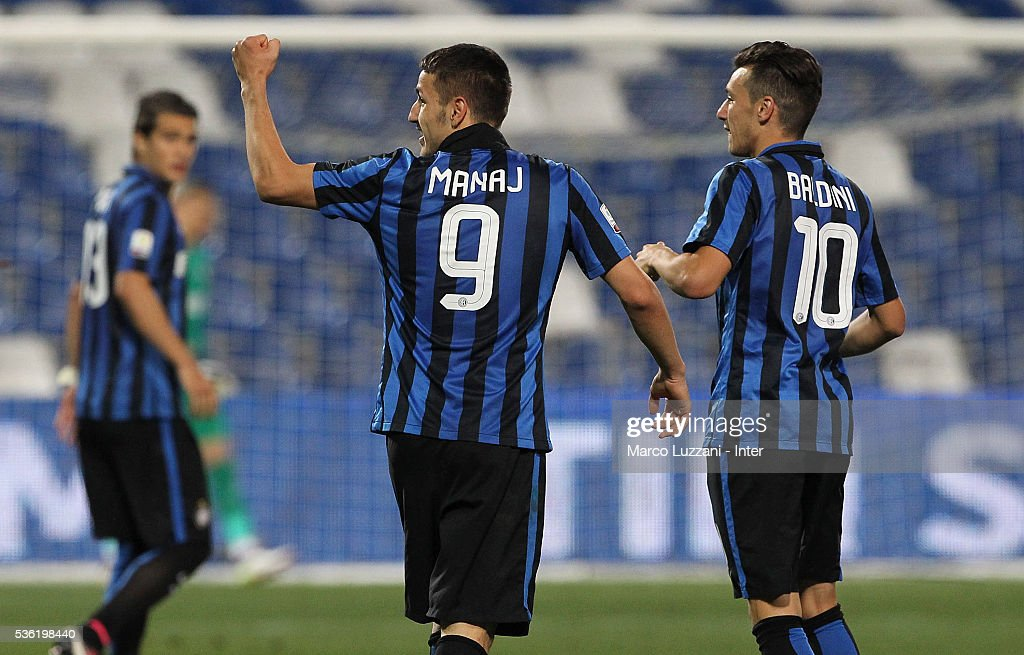 Rey Manaj of FC Internazionale celebrates his second goal with his team-mate Enrico Baldini during the juvenile playoff match between FC Internazionale and AS Roma at Mapei Stadium - Citta' del Tricolore on May 31, 2016 in Reggio nell'Emilia, Italy.