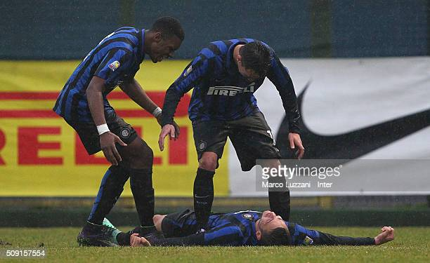 Rey Manaj of FC Internazionale Milano celebrates with his teammates Enrico Baldini and Andrew Ryan Gravillon after scoring the opening goal during...