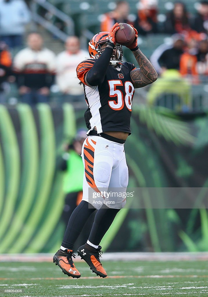 <a gi-track='captionPersonalityLinkClicked' href=/galleries/search?phrase=Rey+Maualuga&family=editorial&specificpeople=2130661 ng-click='$event.stopPropagation()'>Rey Maualuga</a> #58 of the Cincinnati Bengals intercepts a pass during the NFL game against the Minnesota Vikings at Paul Brown Stadium on December 22, 2013 in Cincinnati, Ohio.
