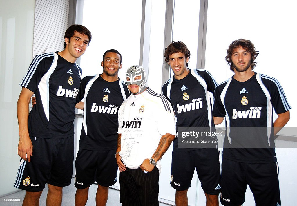 rey misterio visits the real madrid team getty images