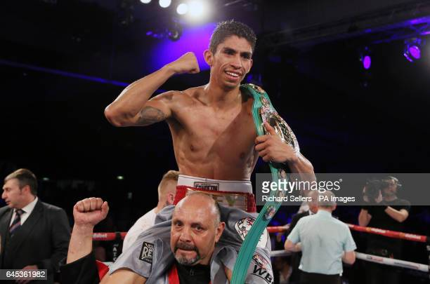 Rey Vargas celebrates beating Gavin McDonnell in the WBC Super Bantamweight Championship bout at Hull Ice Arena
