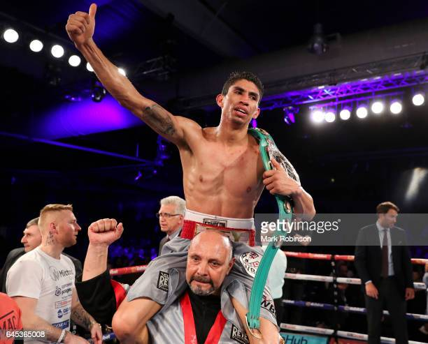 Rey Vargas is carried around the ring after beating Gavin McDonnell on points for the Vacant WBC SuperBantamweight Championship on February 25 2017...