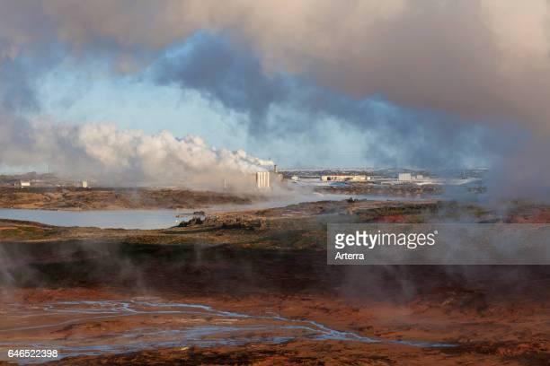Reykjanes geothermal power plant Sudurnes at volcano area Gunnuhver Grindavik Iceland