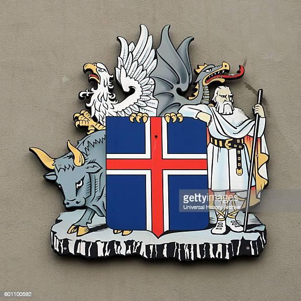 Reykjavik city emblem incorporating the Icelandic flag