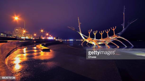 Reykjavik With Its Iconic Landmark Solfar Sun Voyager At Night