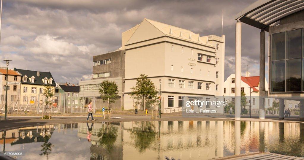 Reykjavík's City Hall outdoors : Foto de stock