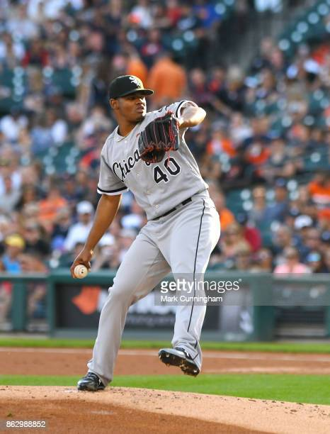 Reynaldo Lopez of the Chicago White Sox pitches during the game against the Detroit Tigers at Comerica Park on September 16 2017 in Detroit Michigan...