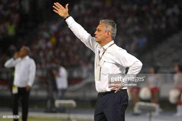Reynaldo Rueda coach of Atletico Nacional gives instructions to his players during a first leg final match between Atletico Junior and Atletico...